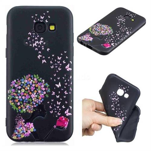 Corolla Girl 3D Embossed Relief Black TPU Cell Phone Back Cover for Samsung Galaxy A5 2017 A520