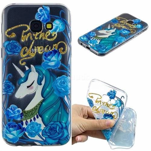 Blue Flower Unicorn Clear Varnish Soft Phone Back Cover for Samsung Galaxy A5 2017 A520