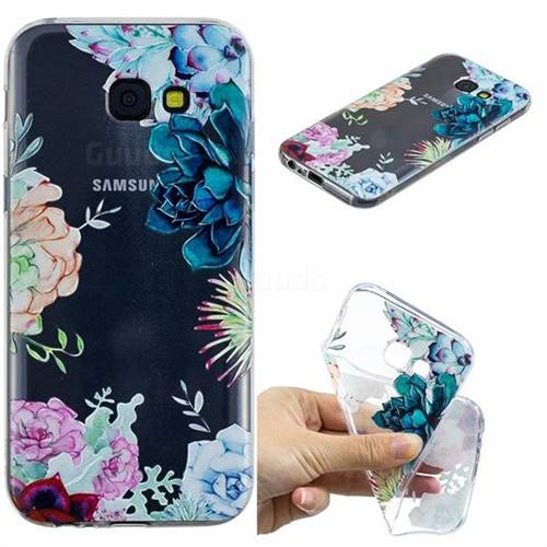Gem Flower Clear Varnish Soft Phone Back Cover for Samsung Galaxy A5 2017 A520