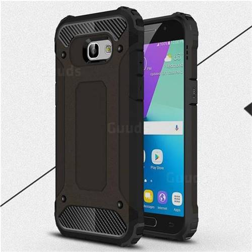 King Kong Armor Premium Shockproof Dual Layer Rugged Hard Cover for Samsung Galaxy A5 2017 A520 - Black Gold