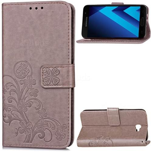 Embossing Imprint Four-Leaf Clover Leather Wallet Case for Samsung Galaxy A5 2017 A520 - Grey