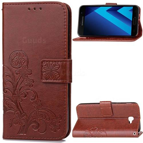 Embossing Imprint Four-Leaf Clover Leather Wallet Case for Samsung Galaxy A5 2017 A520 - Brown