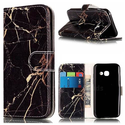 Black Gold Marble PU Leather Wallet Case for Samsung Galaxy A5 2017 A520