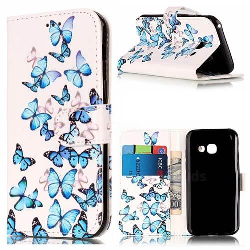Blue Vivid Butterflies PU Leather Wallet Case for Samsung Galaxy A5 2017 A520
