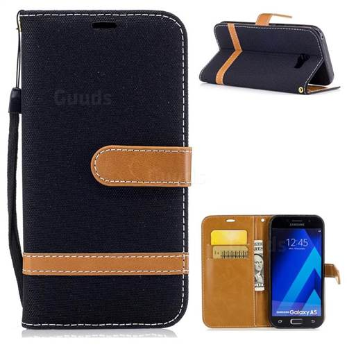 Jeans Cowboy Denim Leather Wallet Case for Samsung Galaxy A5 2017 A520 - Black