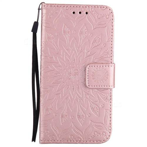 Embossing Sunflower Leather Wallet Case For Samsung Galaxy A5 2017 A520 Rose Gold