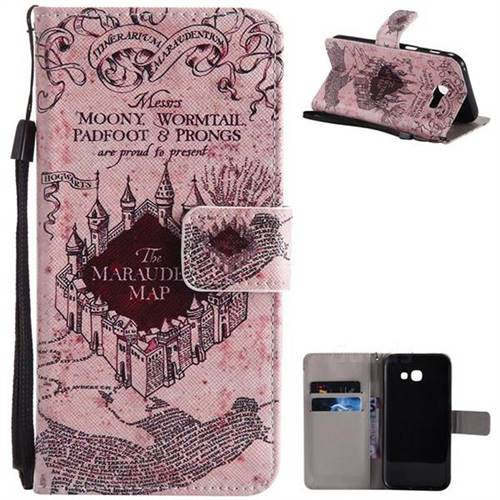 Castle The Marauders Map PU Leather Wallet Case for Samsung Galaxy A5 2017 A520