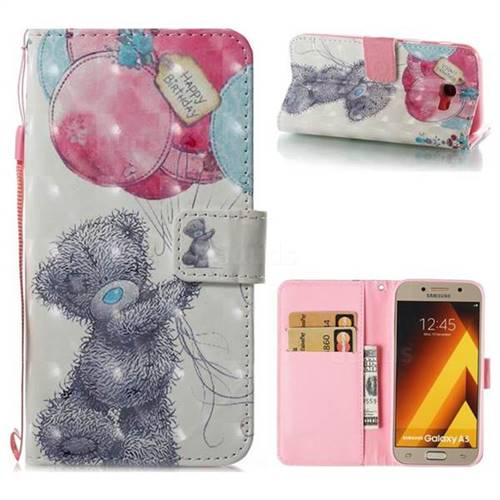 Gray Bear 3D Painted Leather Wallet Case for Samsung Galaxy A5 2017 A520