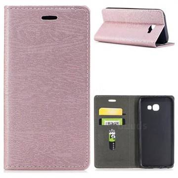 Tree Bark Pattern Automatic suction Leather Wallet Case for Samsung Galaxy A5 2017 A520 - Rose Gold