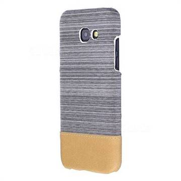 Canvas Cloth Coated Plastic Back Cover for Samsung Galaxy A5 2017 A520 - Light Grey