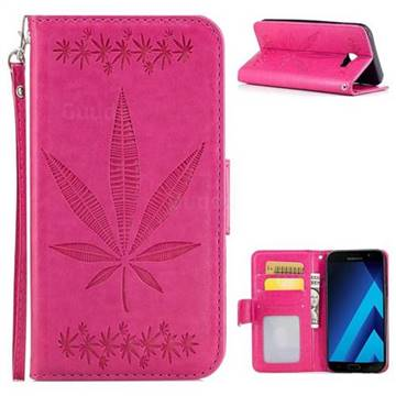 Intricate Embossing Maple Leather Wallet Case for Samsung Galaxy A5 2017 A520 - Rose