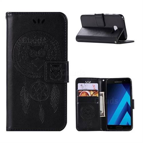 Intricate Embossing Owl Campanula Leather Wallet Case for Samsung Galaxy A5 2017 A520 - Black