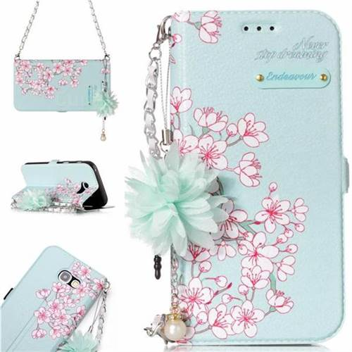 Cherry Blossoms Endeavour Florid Pearl Flower Pendant Metal Strap PU Leather Wallet Case for Samsung Galaxy A5 2017 A520