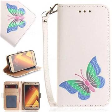 Imprint Embossing Butterfly Leather Wallet Case for Samsung Galaxy A5 2017 A520 - White