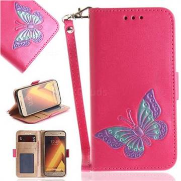 Imprint Embossing Butterfly Leather Wallet Case for Samsung Galaxy A5 2017 A520 - Rose Red