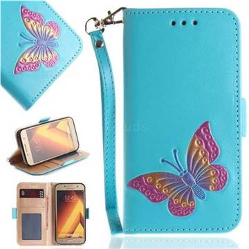 Imprint Embossing Butterfly Leather Wallet Case for Samsung Galaxy A5 2017 A520 - Sky Blue