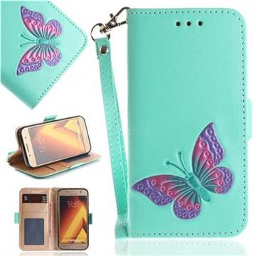 Imprint Embossing Butterfly Leather Wallet Case for Samsung Galaxy A5 2017 A520 - Mint Green