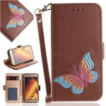 Imprint Embossing Butterfly Leather Wallet Case for Samsung Galaxy A5 2017 A520 - Brown