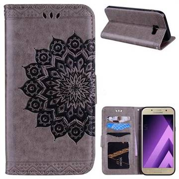 Datura Flowers Flash Powder Leather Wallet Holster Case for Samsung Galaxy A5 2017 A520 - Gray
