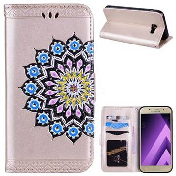 Datura Flowers Flash Powder Leather Wallet Holster Case for Samsung Galaxy A5 2017 A520 - Golden