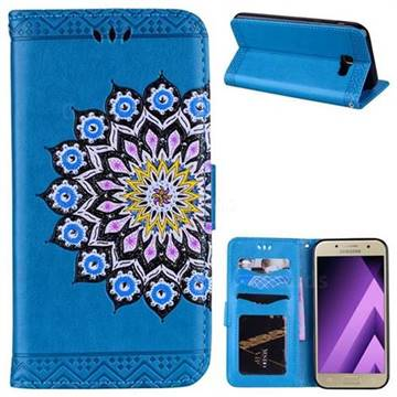 Datura Flowers Flash Powder Leather Wallet Holster Case for Samsung Galaxy A5 2017 A520 - Blue