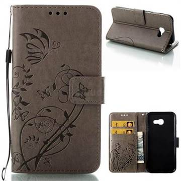 Embossing Butterfly Flower Leather Wallet Case for Samsung Galaxy A5 2017 A520 - Grey