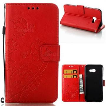 Embossing Butterfly Flower Leather Wallet Case for Samsung Galaxy A5 2017 A520 - Red