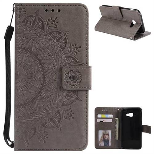 Intricate Embossing Datura Leather Wallet Case for Samsung Galaxy A5 2017 A520 - Gray