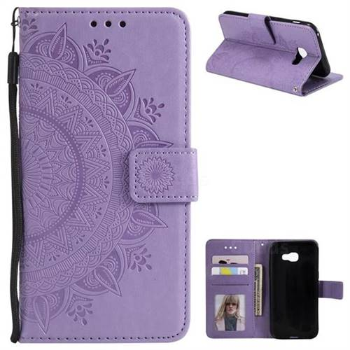 Intricate Embossing Datura Leather Wallet Case for Samsung Galaxy A5 2017 A520 - Purple