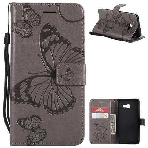 Embossing 3D Butterfly Leather Wallet Case for Samsung Galaxy A5 2017 A520 - Gray