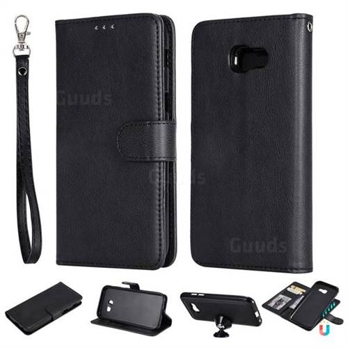 Retro Greek Detachable Magnetic PU Leather Wallet Phone Case for Samsung Galaxy A5 2017 A520 - Black
