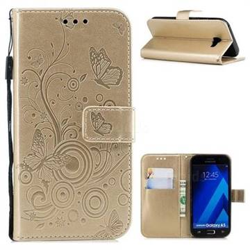 Intricate Embossing Butterfly Circle Leather Wallet Case for Samsung Galaxy A5 2017 A520 - Champagne