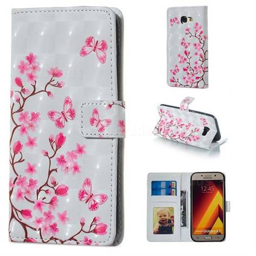 Butterfly Sakura Flower 3D Painted Leather Phone Wallet Case for Samsung Galaxy A5 2017 A520