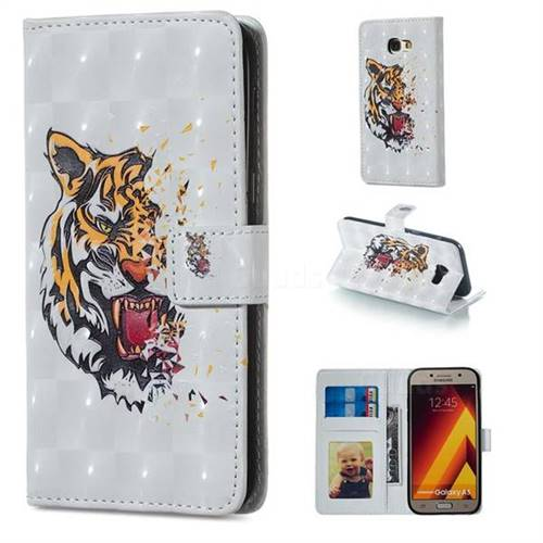 Toothed Tiger 3D Painted Leather Phone Wallet Case for Samsung Galaxy A5 2017 A520
