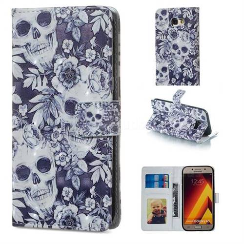 Skull Flower 3D Painted Leather Phone Wallet Case for Samsung Galaxy A5 2017 A520