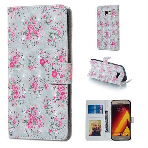 Roses Flower 3D Painted Leather Phone Wallet Case for Samsung Galaxy A5 2017 A520