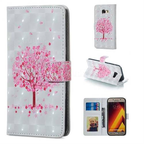 Sakura Flower Tree 3D Painted Leather Phone Wallet Case for Samsung Galaxy A5 2017 A520