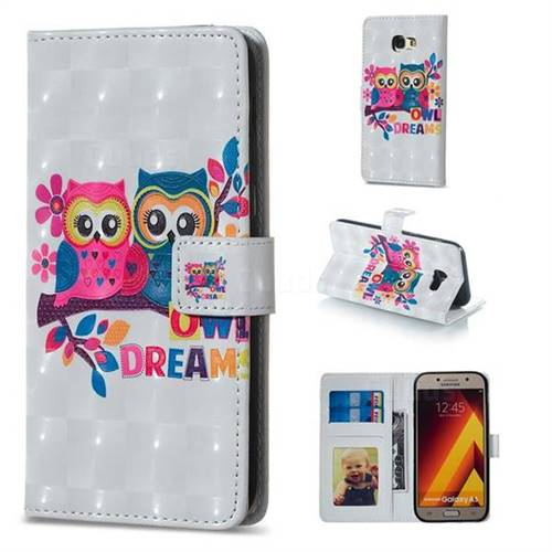 Couple Owl 3D Painted Leather Phone Wallet Case for Samsung Galaxy A5 2017 A520