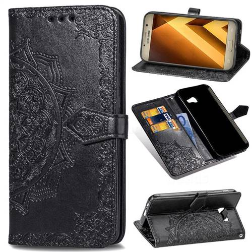Embossing Imprint Mandala Flower Leather Wallet Case for Samsung Galaxy A5 2017 A520 - Black