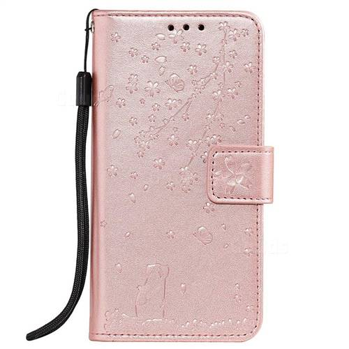 Embossing Cherry Blossom Cat Leather Wallet Case For Samsung Galaxy A5 2017 A520 Rose Gold