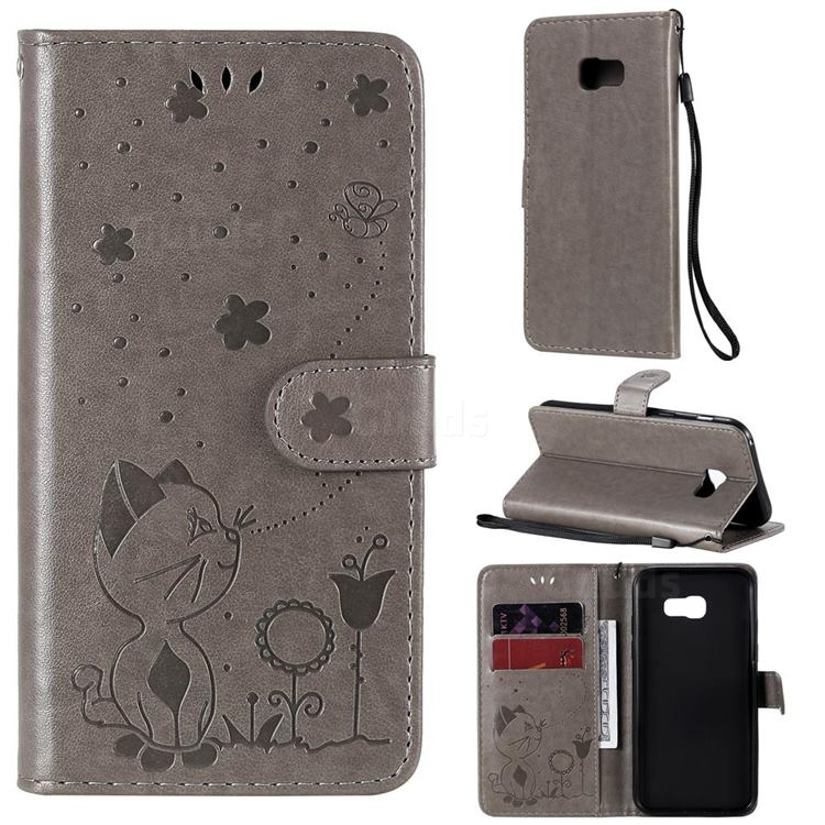 Embossing Bee and Cat Leather Wallet Case for Samsung Galaxy A5 2017 A520 - Gray