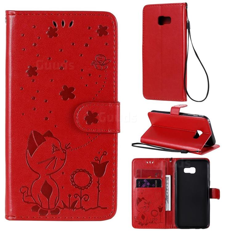 Embossing Bee and Cat Leather Wallet Case for Samsung Galaxy A5 2017 A520 - Red