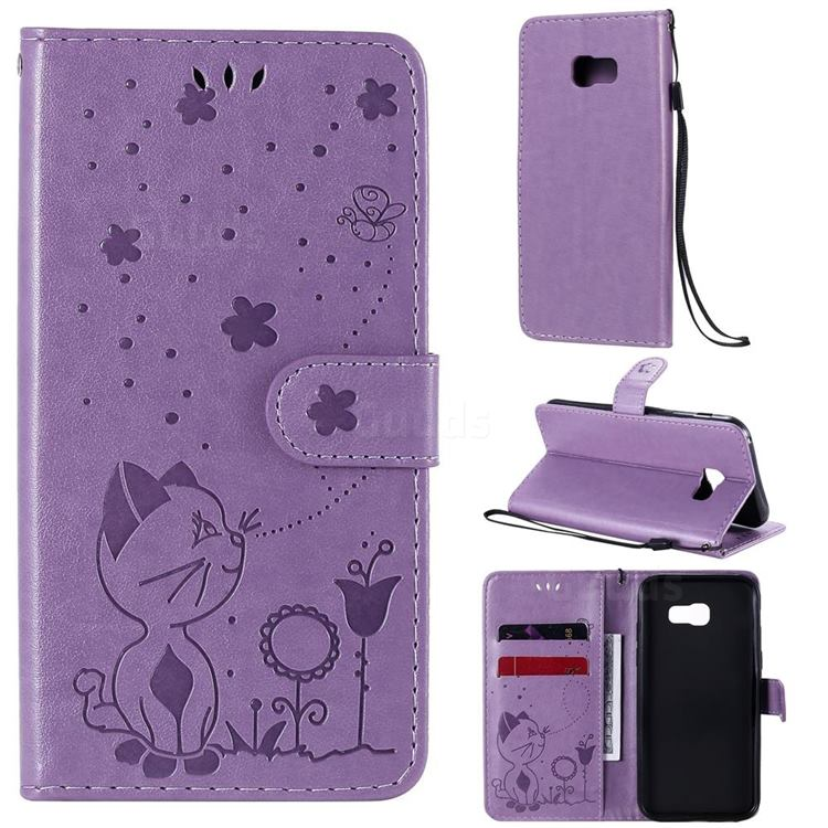 Embossing Bee and Cat Leather Wallet Case for Samsung Galaxy A5 2017 A520 - Purple