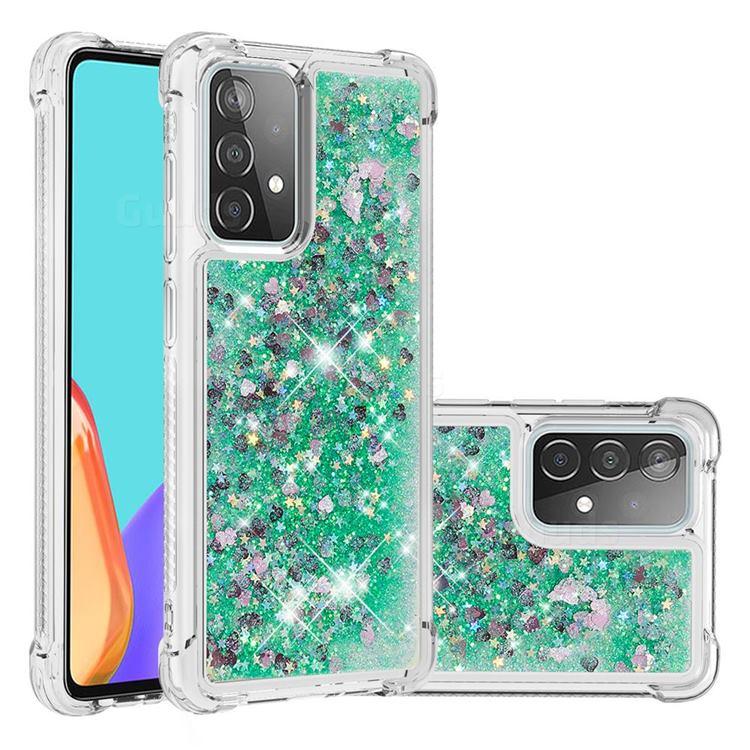 Dynamic Liquid Glitter Sand Quicksand TPU Case for Samsung Galaxy A52 (4G, 5G) - Green Love Heart