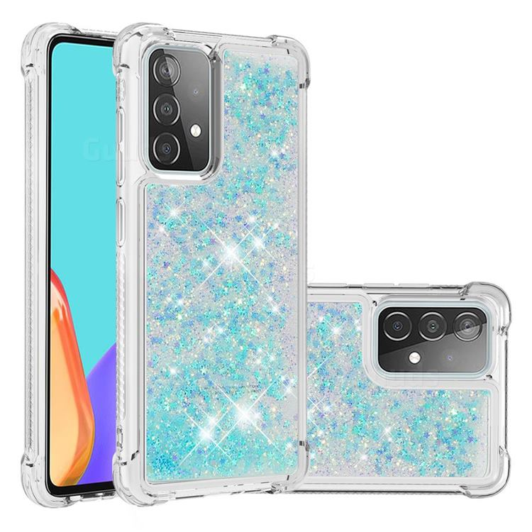 Dynamic Liquid Glitter Sand Quicksand TPU Case for Samsung Galaxy A52 (4G, 5G) - Silver Blue Star