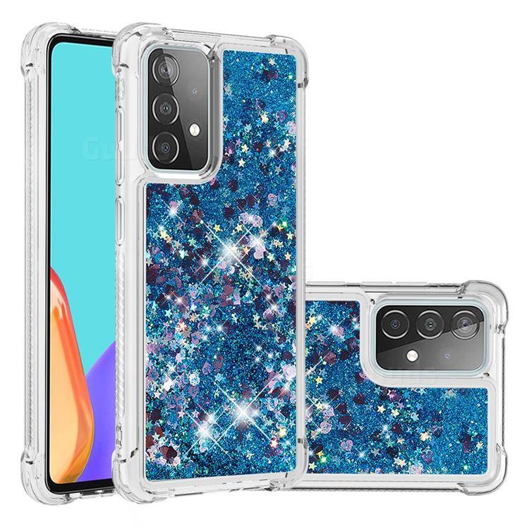 Dynamic Liquid Glitter Sand Quicksand TPU Case for Samsung Galaxy A52 (4G, 5G) - Blue Love Heart