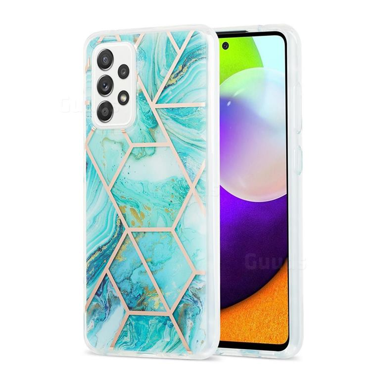 Blue Sea Marble Pattern Galvanized Electroplating Protective Case Cover for Samsung Galaxy A52 (4G, 5G)