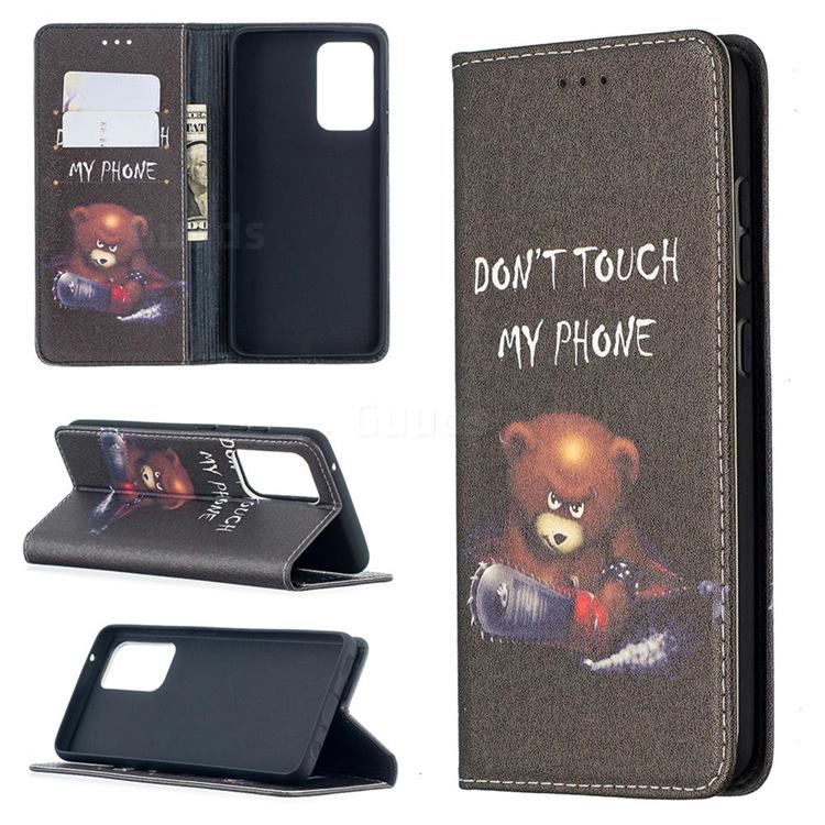 Chainsaw Bear Slim Magnetic Attraction Wallet Flip Cover for Samsung Galaxy A52 5G