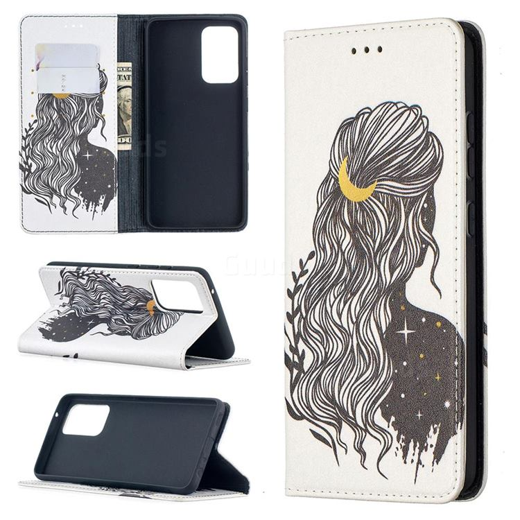 Girl with Long Hair Slim Magnetic Attraction Wallet Flip Cover for Samsung Galaxy A52 5G