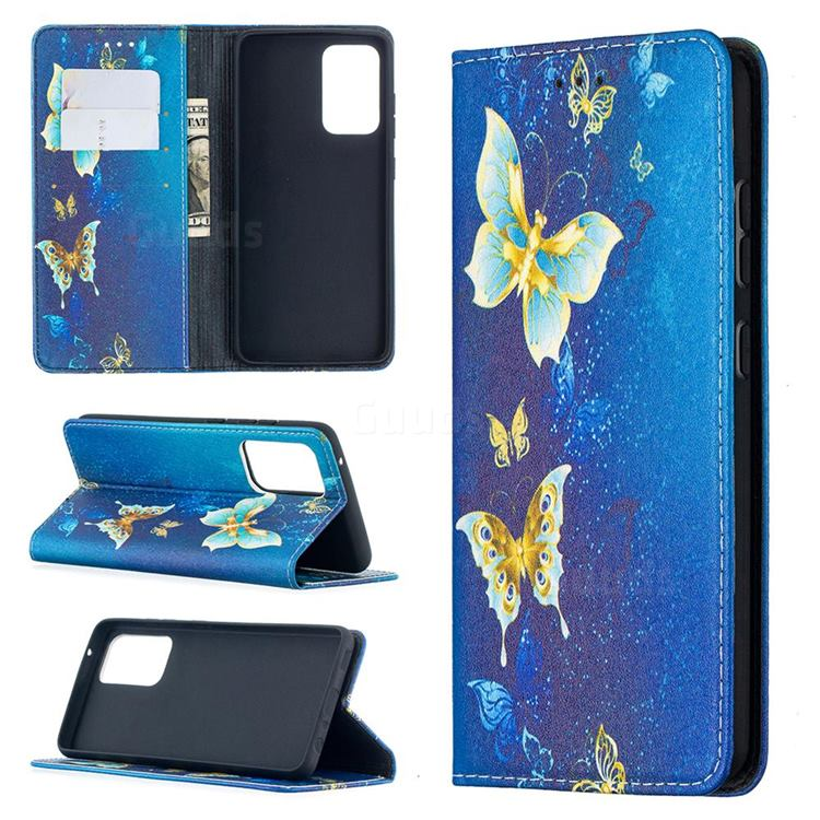 Gold Butterfly Slim Magnetic Attraction Wallet Flip Cover for Samsung Galaxy A52 5G